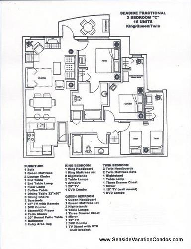 Floor Plan for The Resort - 3 bedroom 2 bath