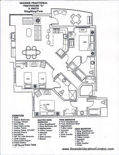 Floor Plan for The Resort - 3 bedroom 3 bath ocean front penthouse