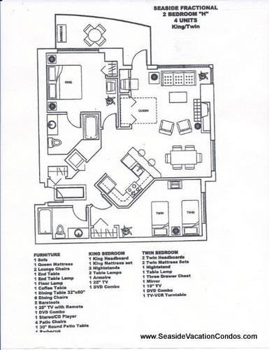 Floor Plan for The Resort - 2 bedroom 2 bath deluxe ocean front